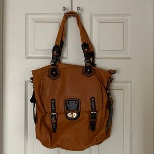 Two tone brown leather satchel